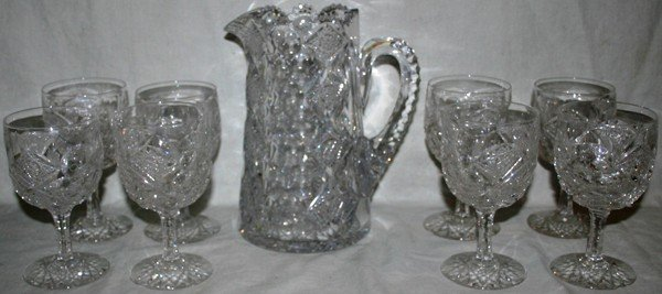 021155: HAWKES BRILLIANT CUT GLASS WATER PITCHER &