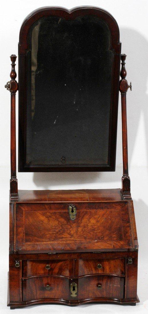 021158: ENGLISH WALNUT DRESSING MIRROR, C. 1800