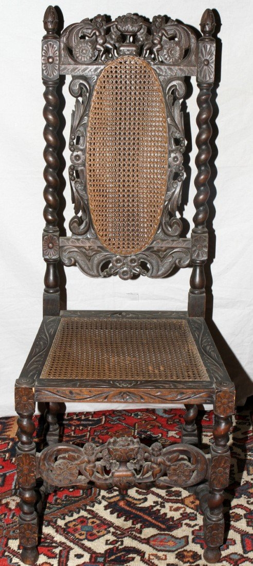 021163: ITALIAN HAND-CARVED SIDE CHAIR, LATE 19TH C.