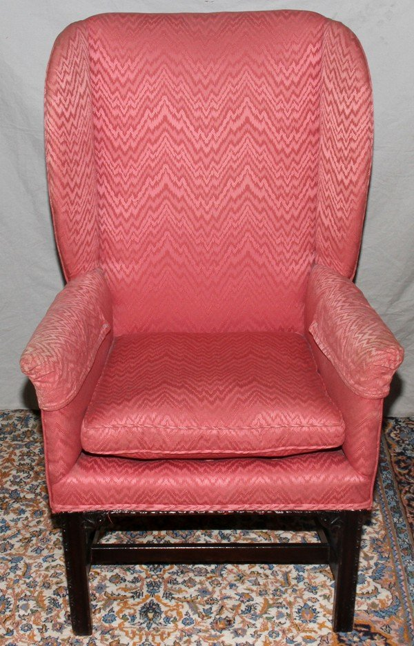 021164: CHIPPENDALE STYLE CHAIR, MAHOGANY FRAME,