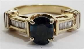 021170: 14KT GOLD, SAPPHIRE & DIAMOND RING