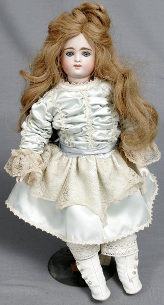093021: FRENCH FASHION, BISQUE & MUSLIN WRAPPED DOLL