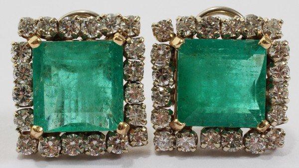 031003: 12.0CT EMERALD T.W. & DIAMOND EARRINGS, PAIR