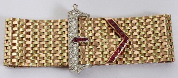 031005: ART DECO 14KT GOLD, RUBY & DIAMOND BRACELET