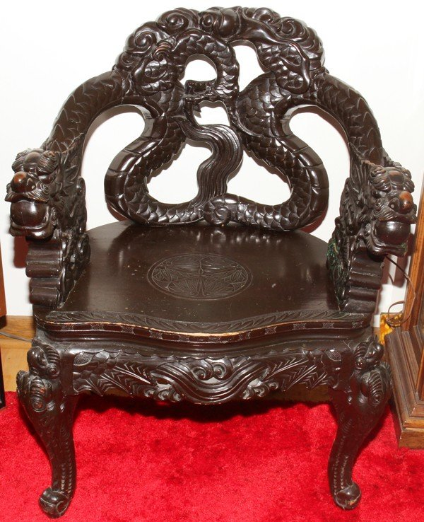 031013: CHINESE CARVED TEAKWOOD CHAIR, C. 1900