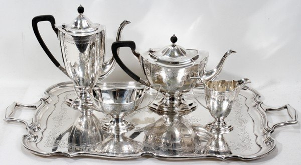 031018: ENGLISH STERLING TEA & COFFEE SET, BARKER BROS.