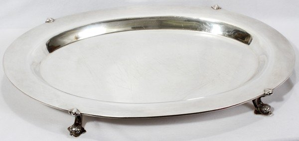 031020: AMERICAN STERLING TRAY WITH DOLPHIN SUPPORTS,