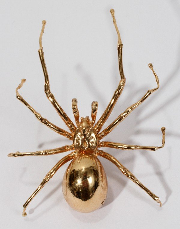 """031083: 14KT YELLOW GOLD SPIDER PIN, L 1 3/4"""""""