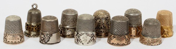 031295: ANTIQUE STERLING, MIXED METAL,& GOLD THIMBLES,