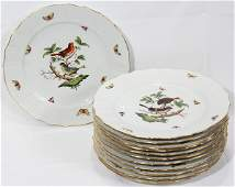 031304 HEREND ROTHSCHILD BIRD DINNER PLATES SET OF 12