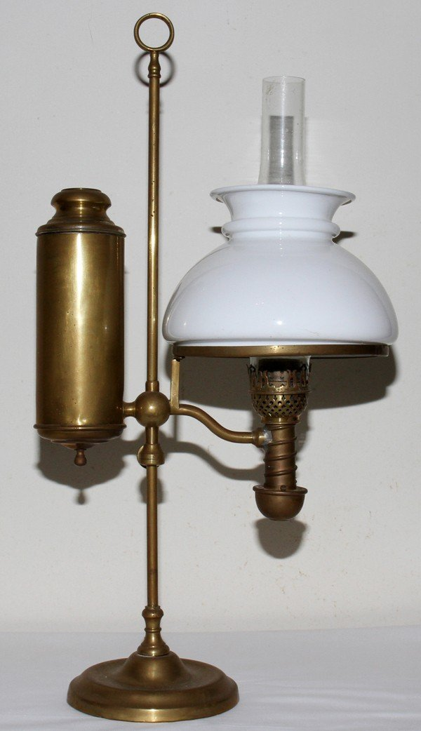 031416: MANHATTAN BRASS CO. BRASS STUDENT OIL LAMP,
