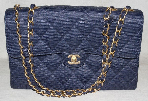 031499: CHANEL BLUE QUILTED STRAW BAG, W 11""