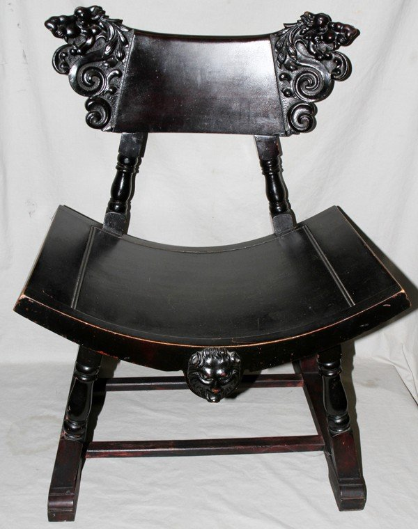 031545: CARVED ARMCHAIR WITH SADDLE SEAT, C. 1900