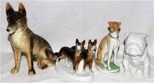 031632: STAFFORDSHIRE & PORCELAIN FIGURES OF DOGS,