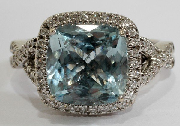 "030020: 6.00CT AQUAMARINE & 1.00CT DIAMOND RING, 5 1/2"""