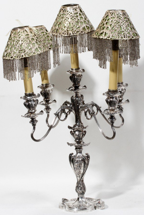 030024: PAIRPOINT SILVER PLATE FIVE-LIGHT CANDELABRA,