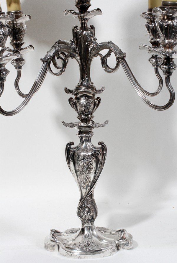 030024: PAIRPOINT SILVER PLATE FIVE-LIGHT CANDELABRA,  - 2