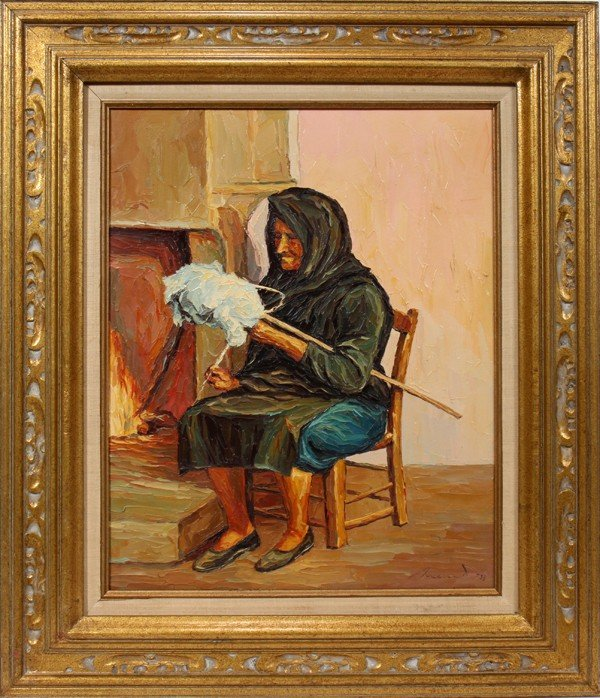 """030155: OIL ON CANVAS, 20"""" X 16"""", WOMAN SEATED"""