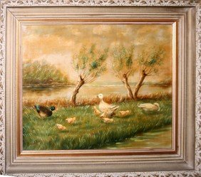 "OIL ON CANVAS, SIGNED, C. 1940-1960, 16"" X 19"""
