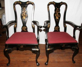 QUEEN ANNE STYLE LACQUER AND GILT ARM CHAIRS,