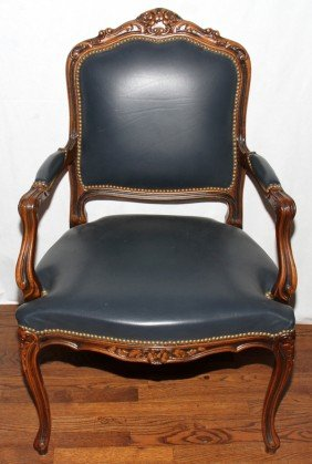 FRENCH STYLE WALNUT OPEN ARM CHAIR