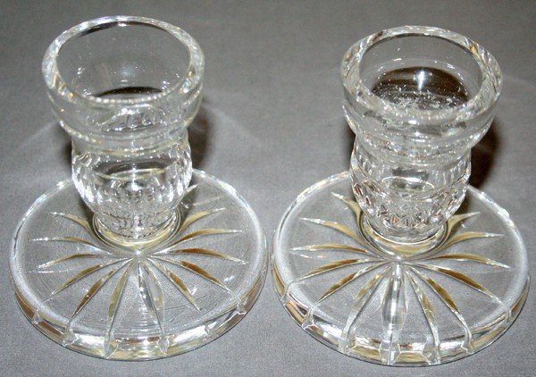 030210: WATERFORD CANDLESTICKS, PAIR, H 3 1/2""