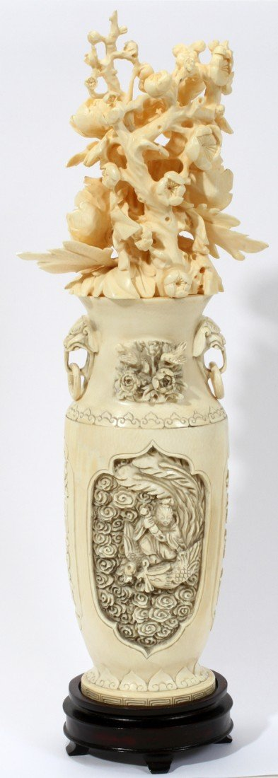 """030228: CHINESE CARVED IVORY VASE WITH FLOWERS, H 12"""""""
