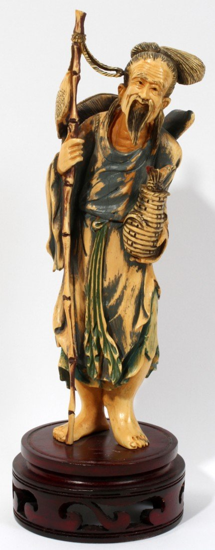 """030231: CHINESE CARVED IVORY FISHERMAN, H 8"""""""