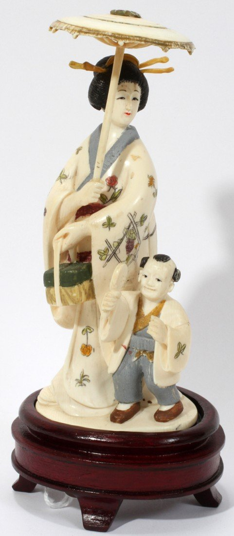 """030232: CHINESE CARVED IVORY FIGURE GROUP, H 5"""""""