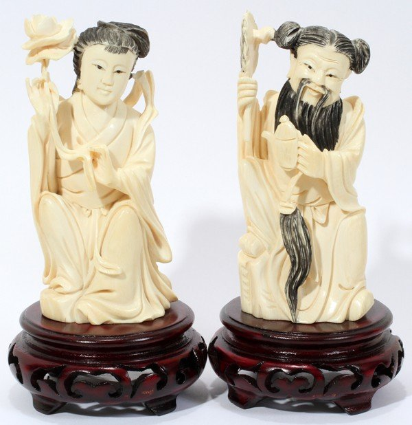 030233: CHINESE CARVED IVORY FIGURES OF MAN AND WOMAN,