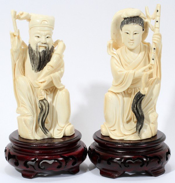 030234: CHINESE CARVED IVORY FIGURES OF MAN AND WOMAN,