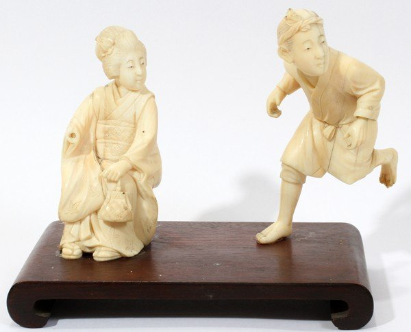 """030235: CHINESE CARVED IVORY FIGURES, TWO, H 3 1/4"""","""