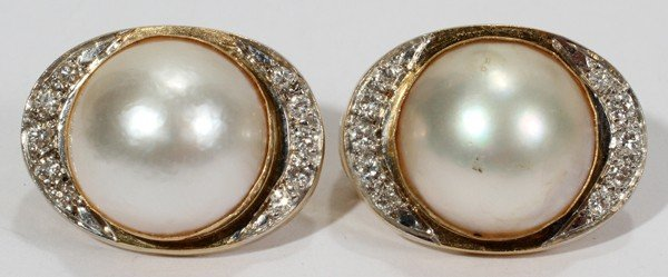 030237: 14KT YELLOW GOLD, DIAMOND & MABE PEARL EARRINGS