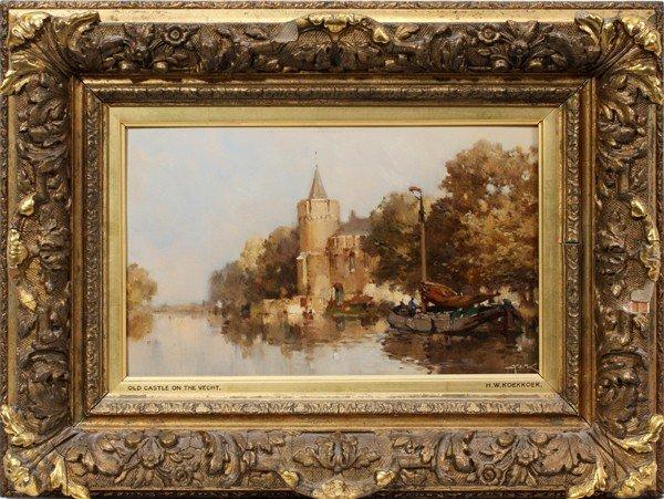 032015: HERMANUS WILLEM KOEKKOEK OIL ON ARTIST BOARD,