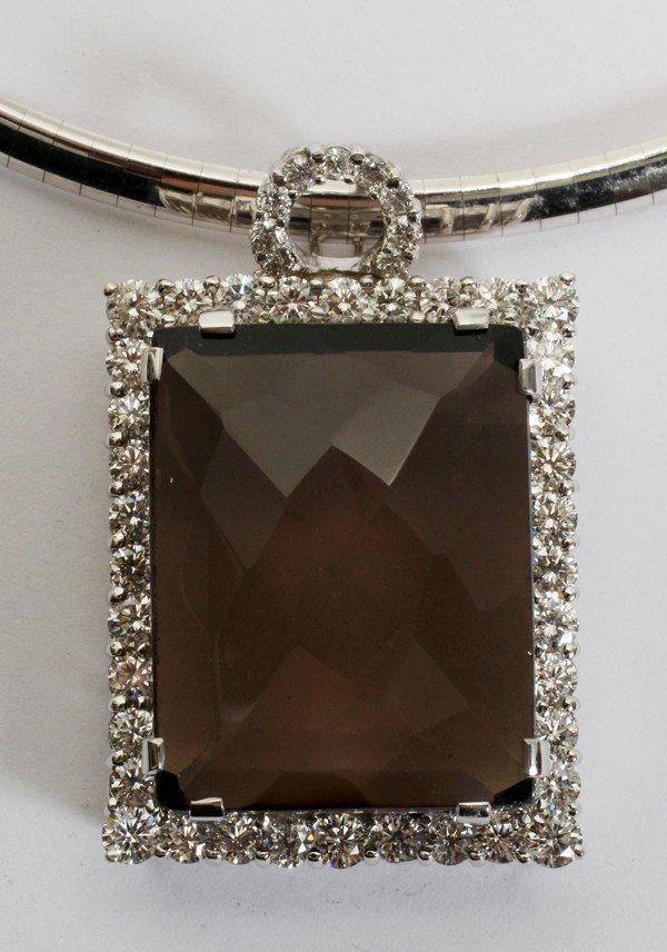032083: 48CT CHOCOLATE TOPAZ & 4CT DIAMOND PENDANT