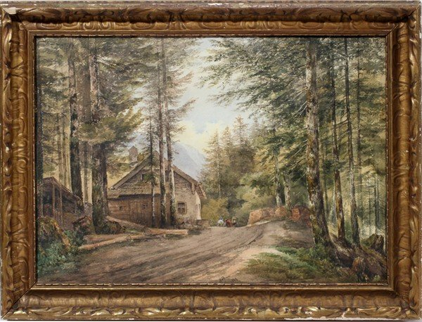 032141: EUROPEAN WATERCOLOR ON PAPER, SIGNED, 1869,