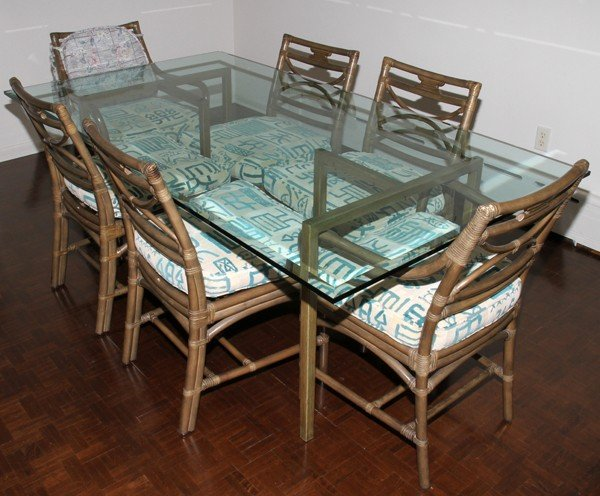032382: BEVELED GLASS & PAINTED METAL DINING TABLE,