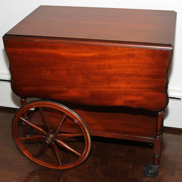 032385: IMPERIAL MAHOGANY DROP LEAF TEA CART, H 28""