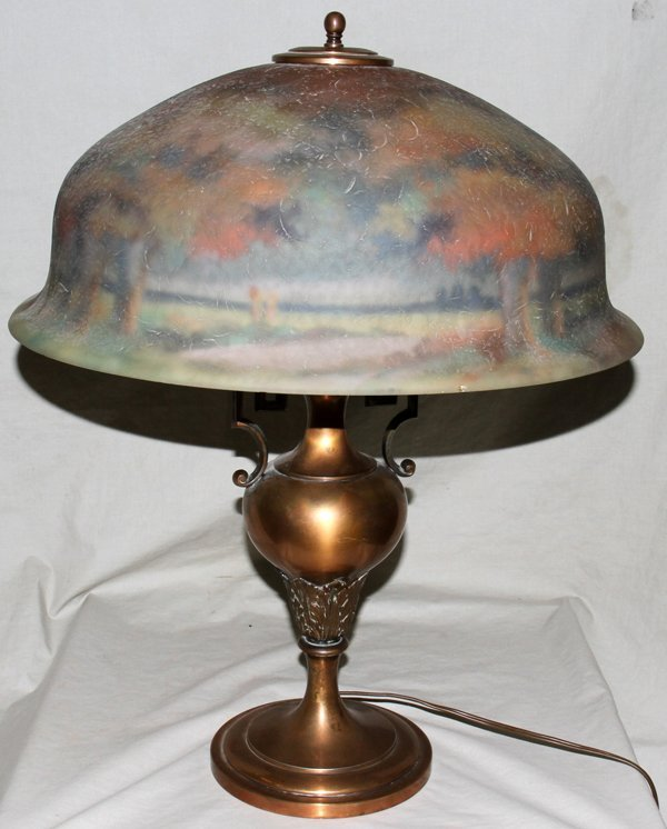 """040011: REVERSE HAND PAINTED LAMP   22"""""""