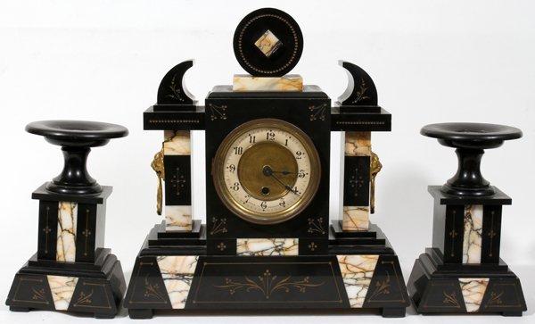 040197: FRENCH BLACK BELGIAN MARBLE CLOCK GARNITURE