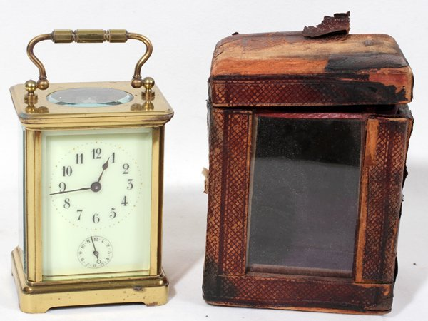 """040200: FRENCH BRASS CARRIAGE CLOCK C. 1900  4"""" 3"""""""