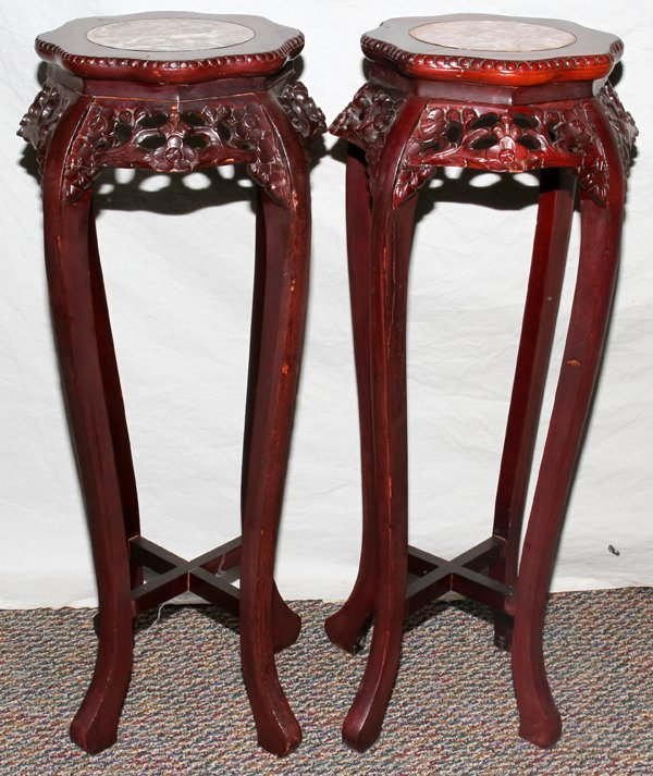 040206: CHINESE ROSEWOOD MARBLE TOP PEDESTALS. 20TH C