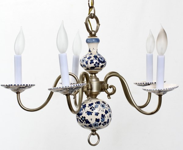 """040208: DELFT POTTERY AND PEWTER CHANDELIER 15"""""""