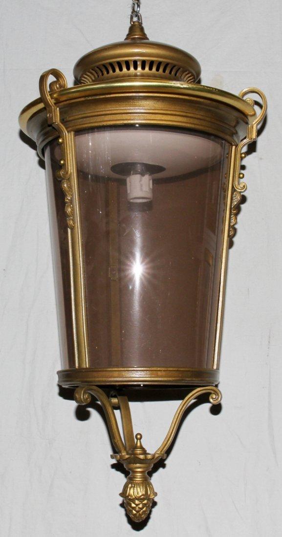 040209: BRUSHED BRONZE & GLASS HANGING LAMP ELECTRIFIED