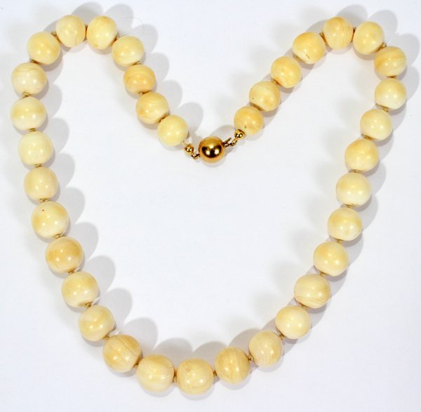 """040213: ANTIQUE IVORY, 15.8 MM BEADED NECKLACE 23"""""""
