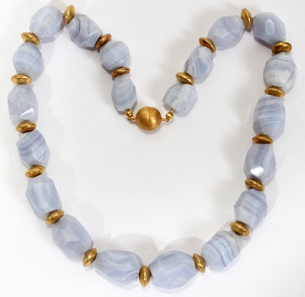 """040214: AGATE AND GILT STERLING SILVER NECKLACE 19"""""""