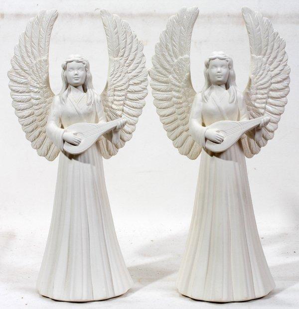 "040219: BISQUE ANGELS  PAIR 13"""