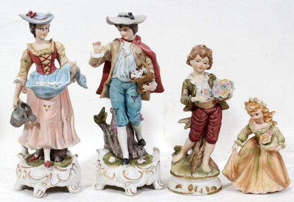 040220: GERMAN STYLE HAND PAINTED BISQUE FIGURES FOUR