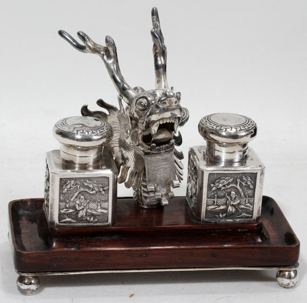 """040421: LUEN WO CHINESE EXPORT SILVER INK WELL 5"""""""