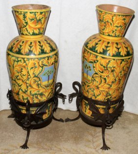 ITALIAN POTTERY URNS IN WROUGHT IRON STANDS